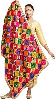 The Home Factory Women's Mirror Work Phulkari Dupatta (THF221; Multicolour Fulkari Chunni; Free Size)