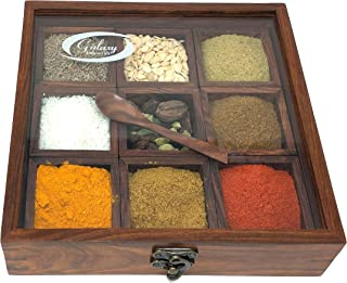 Galaxy Indiacraft Wooden Multipurpose Utility Table Top Spice Box Masala Dabba Containers Jars Cum Kitchen & Dry Fruit Box...