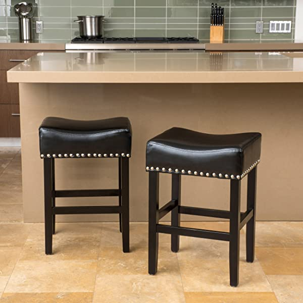 Christopher Knight Home 295996 Loring Bonded Leather Backless Counter Stool Set Of 2 Black