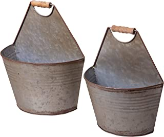 Red Co. Tin Wall Pails Half Bucket Wall Pocket Planters, Country Farmhouse Décor, Set of 2 Sizes