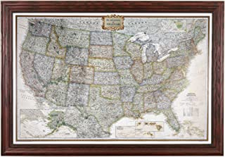 Push Pin Travel Maps Personalized Executive US with Solid Wood Cherry Frame and Pins 24 x 36