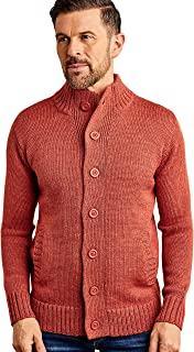 Mens Pure Wool Cardigan Jumper Sweater Knitwear Rustic Orange L