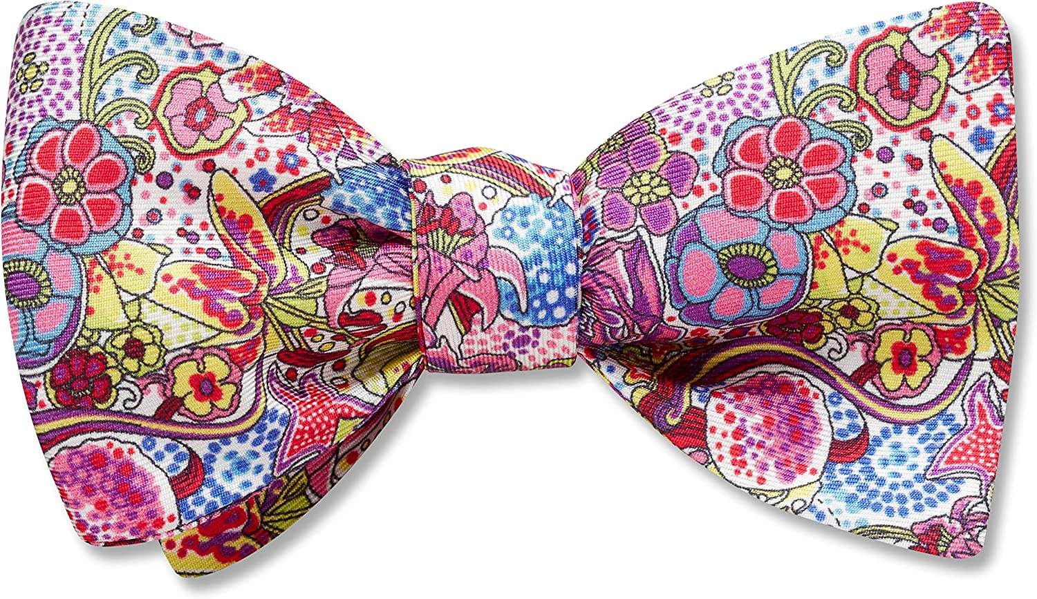 Carefree Pink,White Floral, Men's Bow Tie, Handmade in the USA