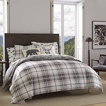Eddie Bauer Home | Alder Collection | 100% Cotton Soft and Cozy Premium Quality Reversible Plaid Duvet Cover with Matching Shams, 3-Piece Bedding Set, King, Charcoal
