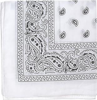 Bandanas by the Dozen (12 units per pack, 100% cotton) [White Paisley]