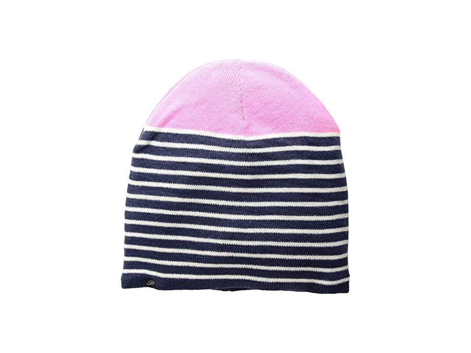 Plush Fleece-Lined Striped Color Block Beanie (Navy/Neon Pink) Beanies