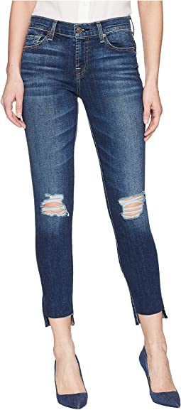 7 For All Mankind The Ankle Skinny w/ Destroy & Step Hem in Midnight Desert 2