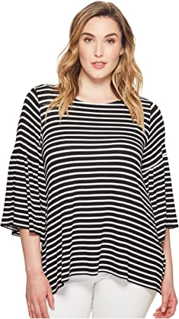 Karen Kane Plus Plus Size Bell Sleeve Side Slit Top
