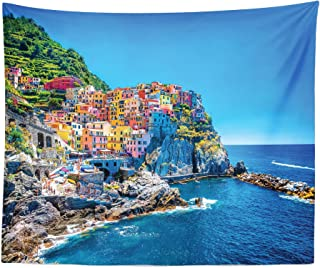 Lunarable Wanderlust Tapestry King Size, Mediterranean Sea Traditional Italian Design Cliff Coastline View Mountains, Wall Hanging Bedspread Bed Cover Wall Decor, 104