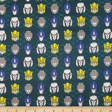 Eugene Textiles Camelot Hasbro Transformers Head Toss Aqua, Fabric by the Yard
