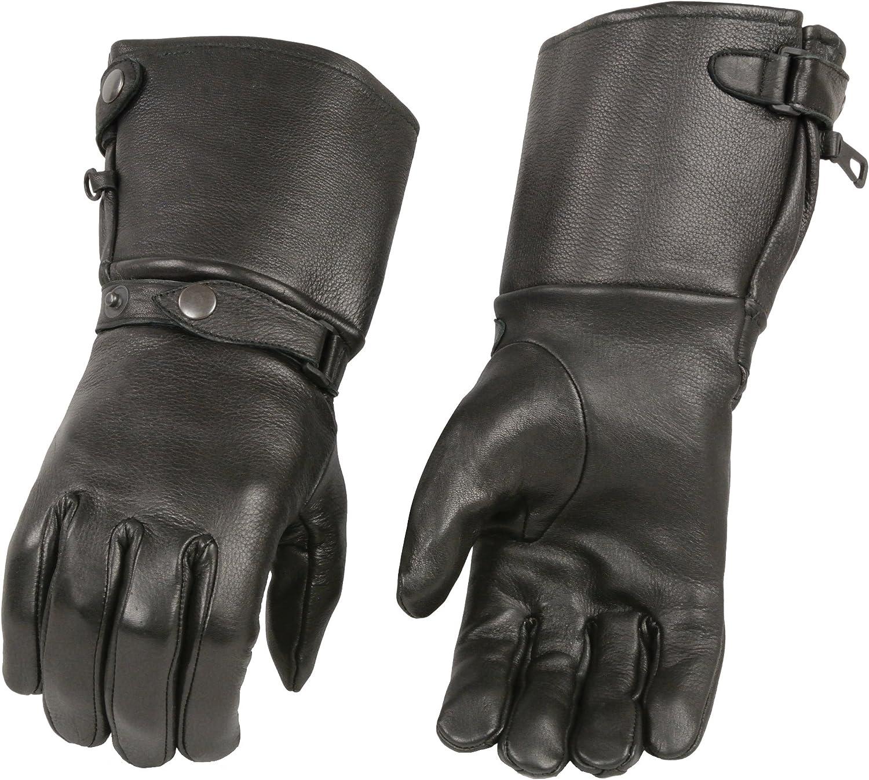M-Boss Motorcycle Apparel BOS37502D Men's Black USA Deerskin Leather Gauntlet Gloves - X-Small