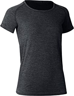 CRZ YOGA Women's Seamless Workout Athletic Tee Stretch Raglan Sleeve Shirts Running Tops Black X-Small