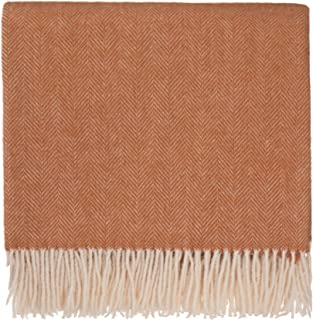 URBANARA 50% Alpaca Wool 50% Merino Wool Throw Corcovado 51x67 Terracotta/Off-White with Fringe — Blanket with Decorative Herringbone Weave Design — Perfect for Your Couch, Sofa, Bed, Chair