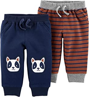 Carter's Baby Boys' 2-Pack Striped Pants Navy/Light Blue