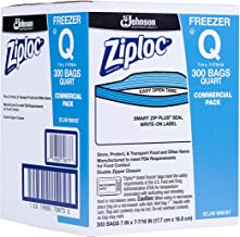 SC Johnson Professional, Ziploc Freezer Bags, For Food Organization and Storage, Double Zipper Seal, Easy-Open Tabs, Quart...