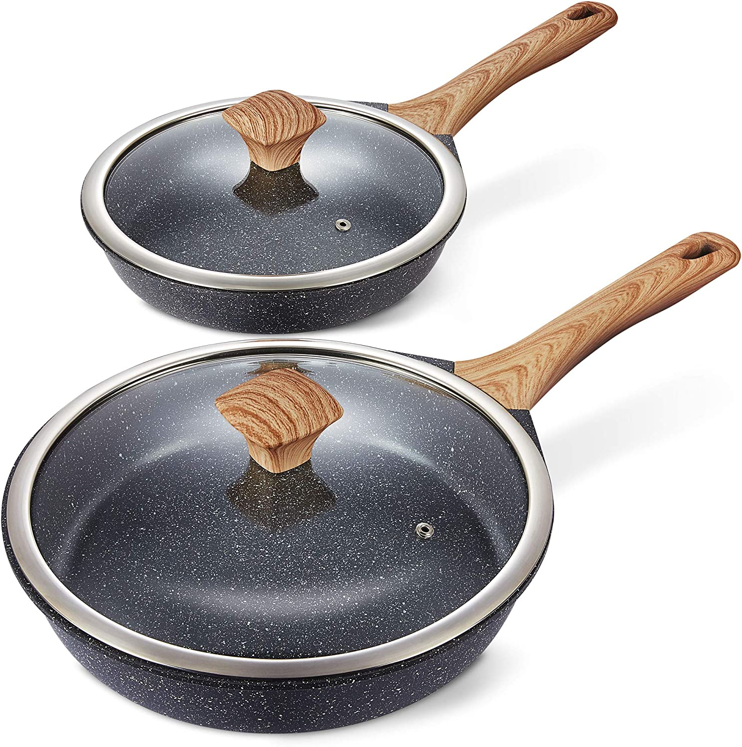 """Amazon.com: Miusco Nonstick Frying Pan Set with Lids, 10"""" & 12"""", Natural  Granite Coating, Premium PFOA Free Skillets with Ergonomic Bakelite Cool  Touch Handle, All Stoves Compatible: Home & Kitchen"""