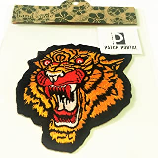 Patch Portal The Roaring Tiger Head Patches Iron on Embroidered 4 Inches Trendy Cat Predator Animal Wildlife Striped Benga...