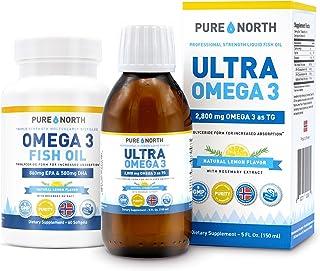 Pure North Ultra Omega 3 Mega Pack - Triglyceride Form Fish Oil Liquid & Softgels