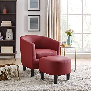 DAZONE Modern Leather Accent Chair Upholstered Arm Chair Linen Fabric Single Sofa Barrel Chair with Ottoman Foot Rest Red