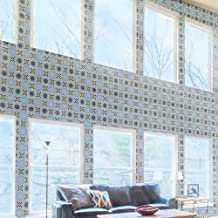 Moroccan Mosaic & Tile House CTP54-06 Alhambra 8''x8'' Handmade Cement Tile, Green Sky Blue/Black