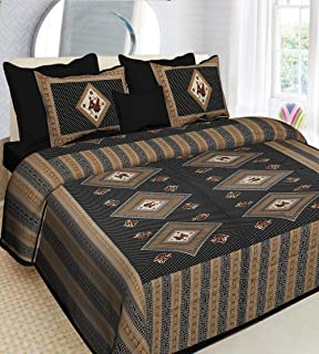UNIBLISS Cotton Comfort 151 TC Rajasthani Jaipuri Traditional King Size 1 Double Bedsheet with 2 Pillow Covers - (Double_M...