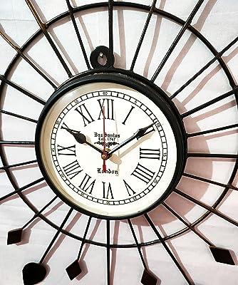 Handicraftgifts Art Unique Antique Style Flower Look Iron Wooden Clock ( Black , Brown , 20 inch )