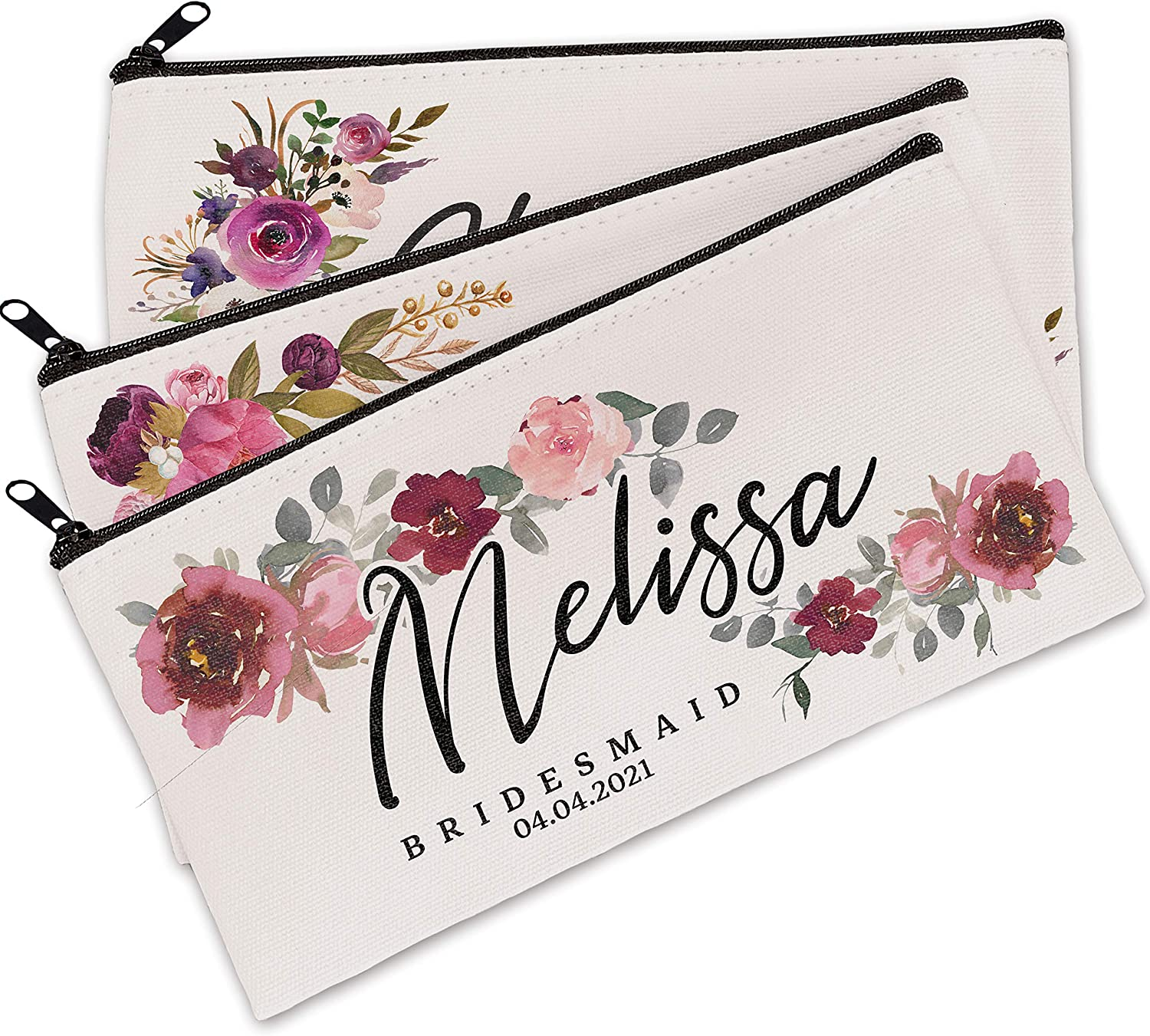 Personalized Floral Makeup Bag Save money Gifts Purchase Customized fo - Bags