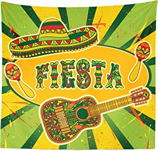 Lunarable Saying Tapestry Queen Size, Mexican Fiesta Party Invitation Sombrero and Music Instruments Maracas and Guitar, Wall Hanging Bedspread Bed Cover Wall Decor, 88