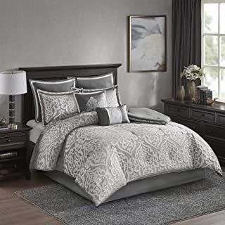 Madison Park Odette 8 Piece Jacquard Bedding Comforter Set with Damask Stria, Queen, Silver