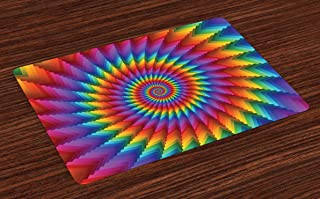 Ambesonne Trippy Place Mats Set of 4, Psychedelic Rainbow Spiral in Vibrant Colors Circular Rainbow of Optical Illusion, Washable Fabric Placemats for Dining Room Kitchen Table Decor, Blue Red