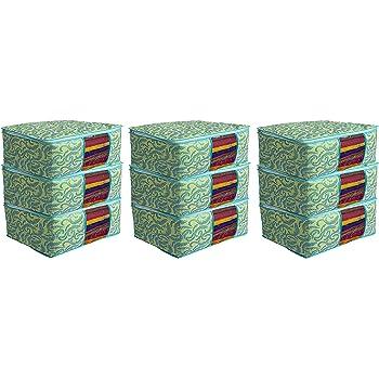 Kuber Industries Metalic Print 9 Piece Non woven Saree Cover Set, Green (CTKTC2592)
