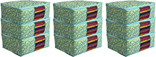 Kuber Industries Metalic Print 9 Piece Non woven Saree Cover Set, Green (CTKTC2592)