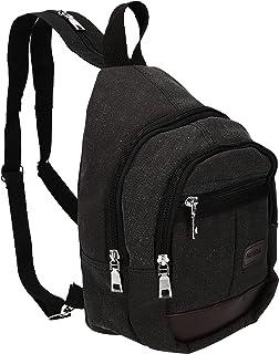 Mochila de Pecho Unisex Sling Bolso Bandolera con 3 Compartimentos Color Negro