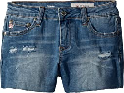 The Shelby Fray Shorts w/ Raw Hem in Seaport (Big Kids)