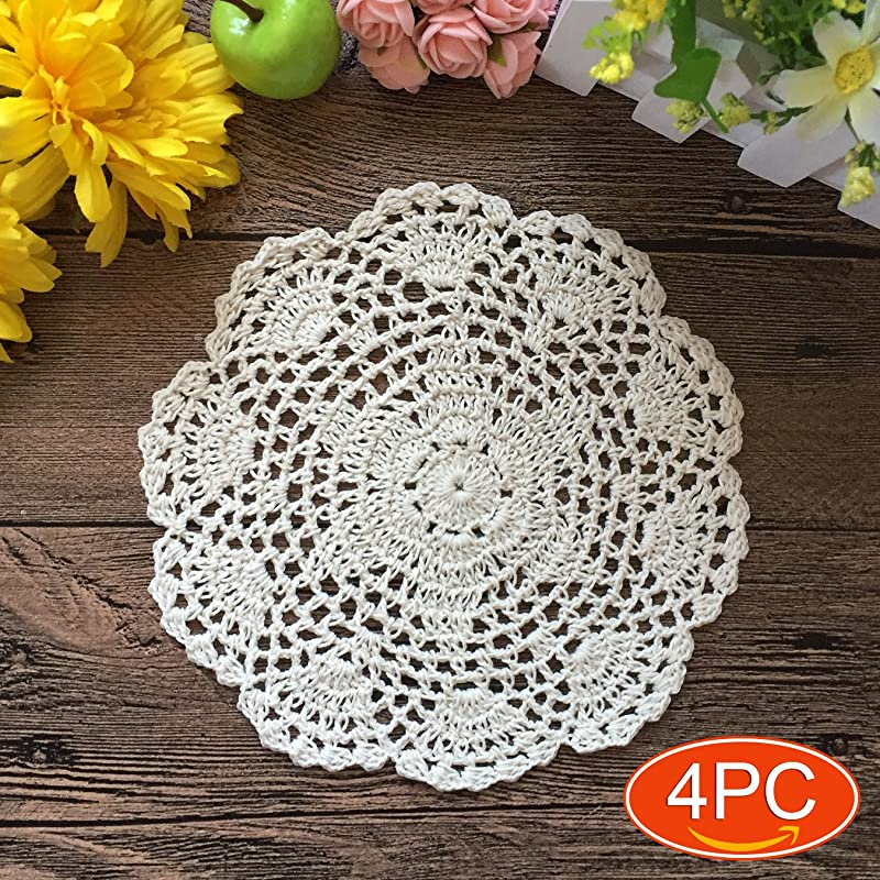 Elesa Miracle 7 Inch 4pc Handmade Round Crochet Cotton Lace Table Placemats Doilies Value Pack Hexagonal Beige White 4pc 7 Inch Beige