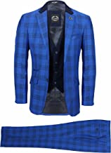 Mens 3 Piece Suit Retro Black Plaid Grid Check on Royal Blue Tailored Fit Contrast Navy Waistcoat