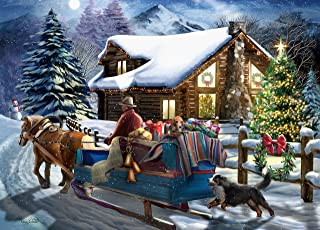 The Jigsaw Puzzle Factory Christmas Cabin Sleigh Ride Puzzle Kids Games for 12+ Age, 1000Piece Jigsaw Puzzle Set, 100% Biodegradable