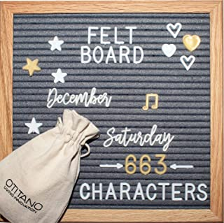 Felt Letter Board 10x10 Inch - Letter Board with White & Gold Letters - 630 Changeable Felt Board Letters, Cursive Words, Symbols for Sign and Felt Letter Board with Stand by Otitano (Gray)