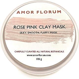MASCARILLA DE ARCILLA ROSA - 100 g - de AMOR FLORUM. Con ingredientes botánicos. Máscara sedosa y suave. Limpia, refina, tonifica, ilumina tu piel.