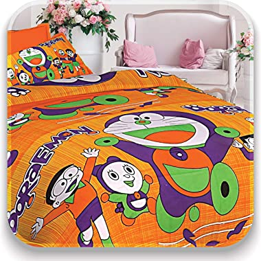 Cotton bedsheet Geometric Flat 144 TC Double Bed bedsheet with 2 Pillow Covers - Orange