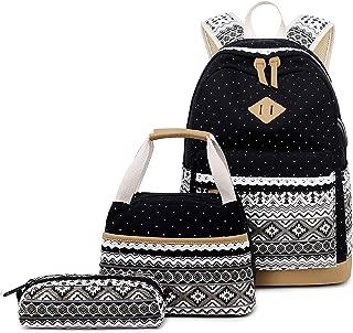 Abshoo Polka Dot Canvas Backpacks for Girls School Bookbags Teen Backpacks with Lunch Bag (9G5 Black)