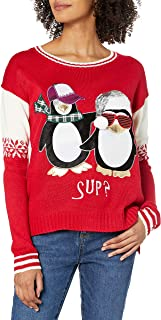 Juniors Penguin with Tie Tunic Christmas Sweater