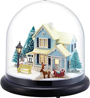 DIY de madera en miniatura casa de muñecas Kit -- casetas de nieve modelo con diseño de muñecas Cubierta de plástico caso/luz LED/caja de música