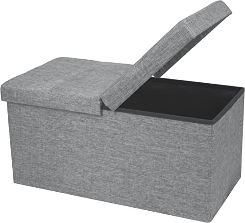 """Otto & Ben 30"""" Storage Ottoman with SMART LIFT Top, Folding Foot Rest Stools Table Ottomans Bench with Linen Fabric, ..."""