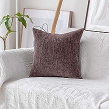 (70cm x 70cm, B-Brown) - HOME BRILLIANT Decorative European Pillowcase Sham Striped Velvet Chenille Plush Throw Pillow Cov...