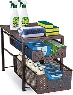 Simple Trending 2-Tier Under Sink Cabinet Organizer with Sliding Storage Drawer, Desktop Organizer for Kitchen Bathroom Office, Stackbale, Bronze