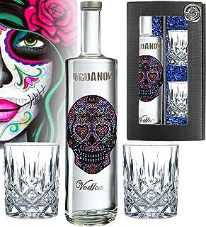LOVE Skull Iordanov Vodka Geschenkset inkl. 2 Tumbler-Gläsern, 1000 Schmuck-Kristalle | Luxus Designer Vodka Iordanov in der Geschenkbox