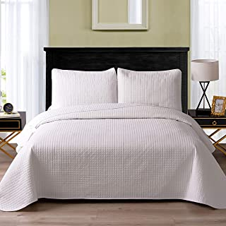 Exclusivo Mezcla Ultrasonic Reversible 3-Piece Queen Size Quilt Set with Pillow Shams, Lightweight Bedspread/Coverlet/Bed Cover - (White, 92