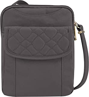 Anti-Theft Signature Quilted Slim Pouch, Smoke