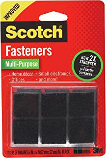 Scotch Multi-Purpose Fasteners, Black, 7/8 inch x 7/8 Inch, 12 Sets per pack, 1 set holds up to 2 pounds, (RF7021)